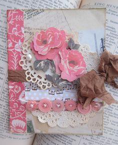 Romantic Rose handmade Shabby Chic card