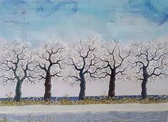 Genähte Winterlandschaft, 40 x 50 cm
