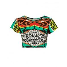 African Print Cap Sleeve Green Crop Top £ 1.00