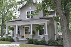 Love the exterior, porch/paint colors. Even if second floor was not there and it was single story