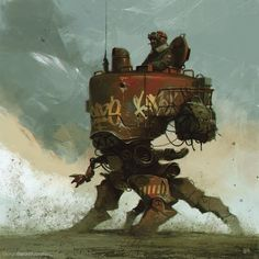 Playing around with Maciej Kuciara's new brushes.. not even remotely inspired by Ian McQue's awesome mechs details and wips can be seen on my tumblr © Giorgio Baroni 2015