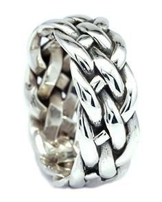 8mm Handmade Weaving Sterling Silver Band Ring Size 7 8 9