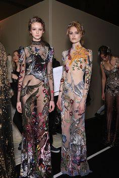 Alexander McQueen Autumn / Winter 2016 - New York Fashion Week NYFW AW16 - Transparent dresses with enter animal print