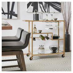 Estelle Step-Tier Metal + Glass Bar Cart - Champagne Gold - Inspire Q