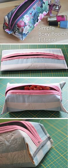 Simple Boxy Pouch Tutorial Very simple Boxy Pouch without a pattern. DIY Tutorial Simple Boxy Pouch Tutorial Very simple Boxy Pouch without a pattern. Sewing Projects For Beginners, Sewing Tutorials, Sewing Hacks, Sewing Tips, Sewing Box, Simple Sewing Projects, Diy Projects, Free Tutorials, Sewing Dolls