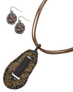 Copper Tone & Patina / Dark Brown Leatherette & Brown Cord / Natural Metal Shard / Lead&nickel Compliant / Fish Hook (earrings) / Multi Strand / Pendant / Necklace & Earring Set