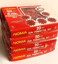 Lot 4 Sets Noma Silk Poinsettia Light String 20 Box Red Flower Vintage Xmas 4927