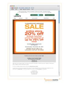 Brand: Lacoste | Subject: 20% off Thanksgiving Weekend Sale