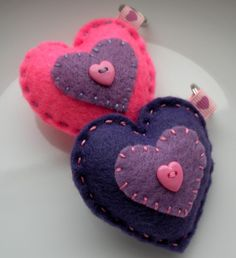 Set of 2 felt heart keychains You & Me A lovely by TheFrenchKnots, $10.00