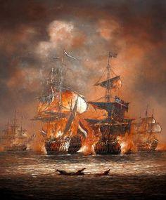 Минаев Сергей. Морской бой Old Sailing Ships, Ship Of The Line, Ship Paintings, Nautical Art, American War, Tall Ships, Model Ships, Battleship, Pictures To Paint