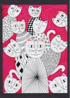 Abstraktní kočky na křídovém papíru