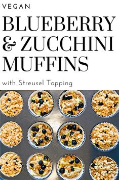 Blueberry and Zucchini Muffins with Streusel Topping - Sweet and savory flavors of the season shine in these quick easy vegan blueberry zucchini muffins that are perfect for breakfast or snacking! Blueberry Zucchini Muffins, Squash Muffins, Vegan Muffins, Vegan Blueberry, Breakfast Bread Recipes, Easy Bread Recipes, Vegan Recipes, Muffin Recipes, Vegan Butter