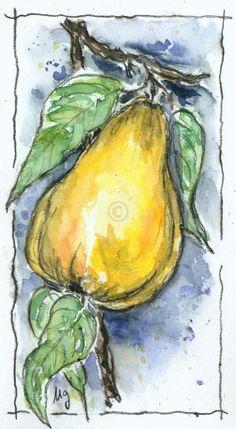 Watercolor Fruit, Watercolor Sketch, Watercolor Cards, Watercolor Flowers, Watercolor Paintings, Art Floral, Botanical Drawings, Watercolour Tutorials, Fruit Art