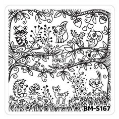 Nail Art Stamping Plates - Fuzzy and Ferocious: BM-S167, Forrest Life