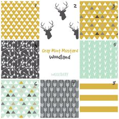 Baby Bedding Boy Nursery Custom Crib Bedding.Woodland Deer Mint Mustard Gray. Spoonflower fabrics by WeeeBaby on Etsy https://www.etsy.com/listing/226697533/baby-bedding-boy-nursery-custom-crib