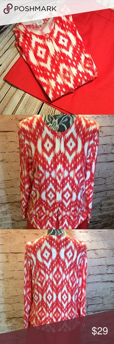 """SZ XL CROWN & IVY AZTEC PRINT LIGHTWEIGHT CARDIGAN Beautiful coral Aztec print cardigan in gently used condition with 1 button near the bottom missing. Lying flat Bust 20"""" length 24"""" sleeve length 21"""" Crown & Ivy Sweaters Cardigans"""