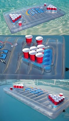 A must-have when you have a swimming pool! Inflatable Beer Pong Table... This would be adult summer fun!