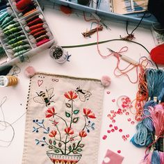"""308 Likes, 14 Comments - Catherine Campbell (@catherine_campbell) on Instagram: """"My desk today. #embroidery #wip"""""""