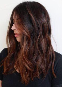 60 Chocolate Brown Hair Color Ideas for Brunettes – Balayage Hair Styles Hair Color Auburn, Auburn Hair, Hair Color Dark, Cool Hair Color, Brown Hair Colors, Dark Hair, Auburn Brown, Dark Brown, Hair Colour