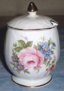 Ansley Aynsley Mustard Pot Jam Jar Floral Roses by BaysideBetty,
