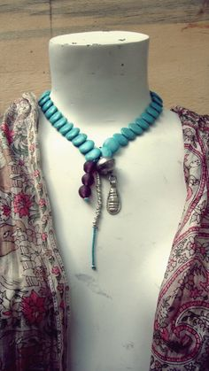 Turquoise hand made necklace with african by ITSYBITSYGARDEN, $70.00