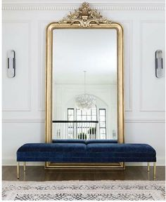 Large floor mirror with bench in front, foyer, entrance area, gold floor mirror . - Home Decor Interior Design Inspiration, Home Decor Inspiration, Decor Interior Design, Interior Decorating, Decor Ideas, Decorating Ideas, Design Ideas, Art Deco Interior Bedroom, French Interior Design