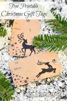 have used deer in my Christmas decorations all year. So I made some free printable Christmas gift tags for you with reindeer. Print them on kraft paper or other colored scrapbook paper to complete your gift wrap this year. Free Printable Christmas Gift Tags, Holiday Gift Tags, Christmas Gift Wrapping, Xmas Gifts, Holiday Crafts, Printable Tags, Christmas Scrapbook, Free Printables, Wrapping Ideas