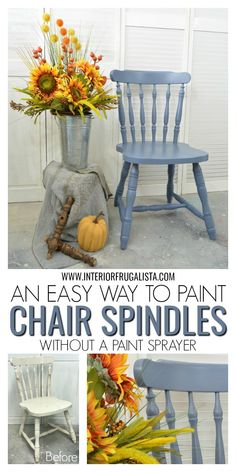 Easy Way To Paint Chair Spindles When You Can't Spray is part of Painted wood chairs - An easy way to paint wooden chairs with spindles when you don't have access to a paint sprayer or paint indoors Plus helpful tips, useful products, and Painted Dining Chairs, Redo Furniture, Painted Furniture, Painted Wood Chairs, Wood Chair, Chalk Paint Furniture, Paint Furniture, Wooden Chair, Cool Furniture