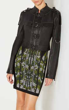 Leslie Leather Jacket Herve Leger, Leather Pieces, Smooth Leather, Sequin Skirt, Sequins, Leather Jacket, Skirts, Pants, Jackets