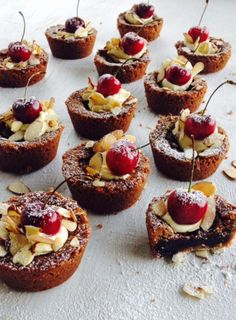Chocolate Fudge Tarts with Fresh Cherries