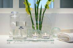 Beauty in simplicity. A slice of elegant detailing in our latest bath design. #bathdesign #bathroom #accessories #detail #modern #simplicity #glass #sculpture #line #contrast #interiordesign #reginasturrockdesigninc by reginasturrock