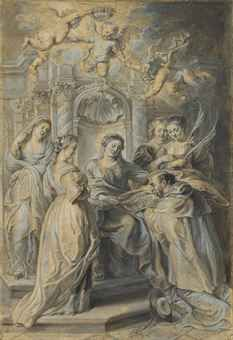 Sir Peter Paul Rubens (Siegen 1577-1640 Antwerp) extensively reworking a drawing attributed to Hans Witdoeck  Saint Ildefonso receiving the Chasuble from the Virgin