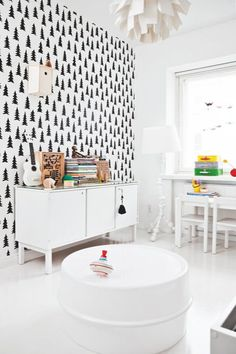 Wallpaper has the ability to create a story and set the mood in a room and I especially do a mental cheer when I see it used fearlessly in children's rooms