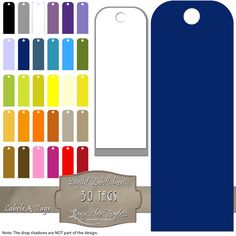 30 different colored digital tags.  Each file is a PNG with a transparent background.  $3.50  #tags, #labels, #digital, #tags, #printable, #download, #blue, #purple, #green, #red, #yellow, #orange, #blogging, #scrapbooking, #card making