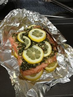 Salmon Lemon Herb Foil Bake. Felix and I just added a bunch of seasonings and lemons, cooked it at 350 for 30 minutes. So good.