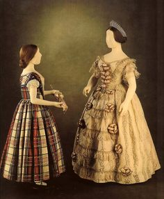 Dress worn by Queen Victoria to the opening do the Crystal Palace, May 1, 1851, and a dress thought to be worn by Victoria, Princess Royal ca. 1850-52