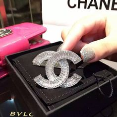 Chanel Classic Silver Plated Crystal Brooch Pin