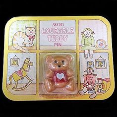 Loveable Teddy Pin Vintage Avon Bear Child's Heart Sealed on Card V342