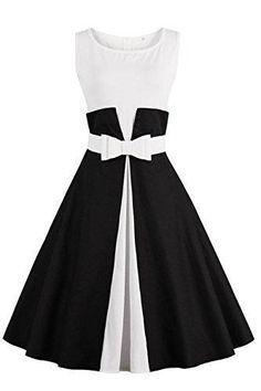 Oferta: 17.75€. Comprar Ofertas de Vestido negro y blanco de fiesta de coctel vestido elegante y retrato de verano sin mangas con lazo talla xl de Babyonlinedre barato. ¡Mira las ofertas!