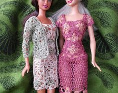 Barbie doll crochet pattern granny square dresses and sweater