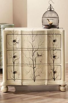 Tree and bird painted dresser.