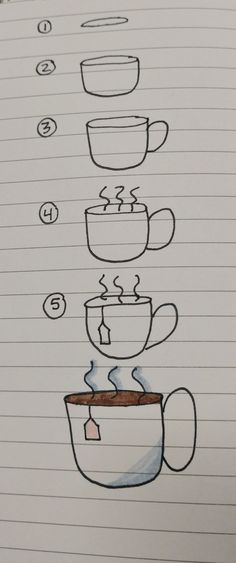 how to draw coffee or tea two ways drawing journal9