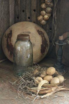 Primitive Early Look Pantry Mason Jar w Dried Egg Gourds Okra Grass | eBay