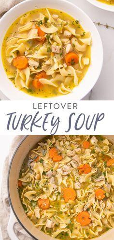 Turkey Noodle Soup, Leftover Chicken Noodle Soup Recipe, Recipe For Turkey Soup, Leftover Turkey Soup, Turkey Leftovers, Kitchen Recipes, Cooking Recipes, Healthy Soup Recipes, Recipes