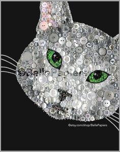 Botón retrato de arte gato | Botón de lona de arte pintura del gato | Decoración gato personalizada  Este retrato de gato totalmente personalizable de botón arte será con cualquier color que usted quisiera! Para ver un vídeo de brillo sorprendente de esta pieza, visita este enlace y no te olvides Haz clic en HD: https://www.facebook.com/bellepapiers/videos/498913223614795/?l=1732120636714655963  Si usted está satisfecho con las fotos de mi trabajo, no vas a creer cuando vea la belleza de la…