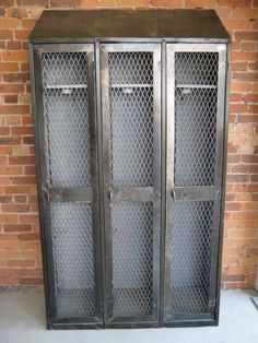 vintage metal lockers. would be awesome for a coat closet substitute!