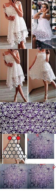 Crochet lace medallion  dress. Change the sleeve neck line area