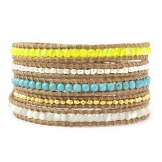 Chan Luu Neon Yellow Mix Wrap Bracelet on Beige Leather | Your #1 Source for Jewelry and Accessories