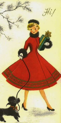 Vintage 50's Young Lady in Red Christmas shopping with a little black poodle