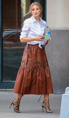 Long leather skirt & white shirt